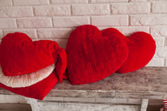 Heart-shaped pillows Stock Image