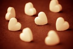 Heart-shaped pills Royalty Free Stock Image