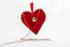Heart shaped pincushion. Royalty Free Stock Image