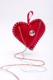 Heart shaped pincushion. Royalty Free Stock Photography
