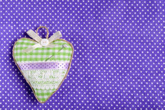 Heart shaped pincushion. Set of objects related to handcraft and sewing Royalty Free Stock Photo