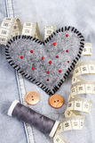 Heart shaped pincushion Royalty Free Stock Image