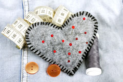 Heart shaped pincushion Stock Image