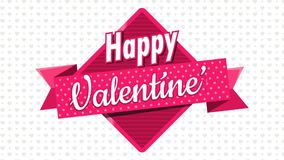 Heart shaped pink balloons holding a square sign with a pink ribbon with the message Happy Valentine`s Day on a white background. With gray hearts. Animation 2D stock video
