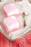 Heart shaped pink cupcakes in  tin tray Royalty Free Stock Image