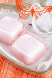 Heart shaped pink cupcakes in  tin tray with spoons Stock Photos