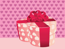 Heart shaped pink gift box Stock Image
