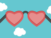 Heart shaped pink glasses Stock Photography