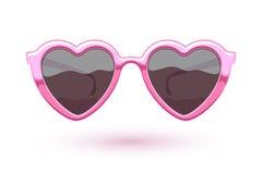 Heart shaped pink metallic sunglasses illustration Stock Photography