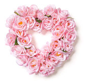 Heart Shaped Pink Rose Arrangement on White Royalty Free Stock Images