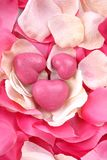 Heart shaped pink soaps Royalty Free Stock Images