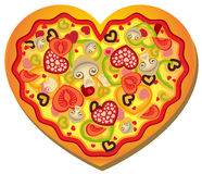 Heart-Shaped Pizza Royalty Free Stock Images