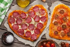 Heart Shaped Pizza Stock Vector Illustration Of Salami