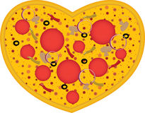 Heart shaped pizza Royalty Free Stock Photography