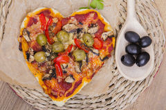 heart shaped pizza Royalty Free Stock Image