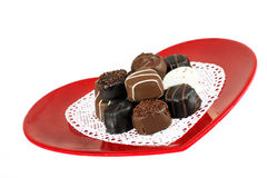 Heart shaped plate of candy Stock Images