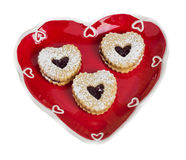 Heart shaped plate with heart shaped cookies Stock Photo