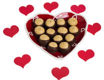 Heart shaped plate with hearts and buckeye cookies Stock Photo