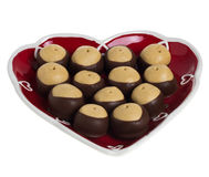 Heart shaped plate of peanut butter cookies Royalty Free Stock Photo