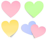 Heart shaped post it multicolour. Vector heart shaped sticky papers in different colours Royalty Free Stock Photography