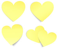 Heart shaped post it yellow Royalty Free Stock Images