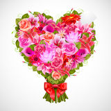 Heart shaped posy. Of tender pink roses with red bow Stock Photography
