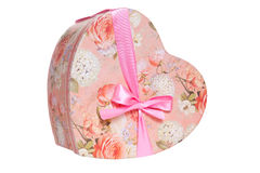 Heart-shaped present box with pink ribbon Royalty Free Stock Image