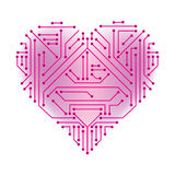 Heart shaped printed circuit. Isolated vector art Stock Photo