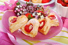Heart shaped puff pastry cookies for valentines Royalty Free Stock Photography