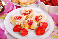 Heart shaped puff pastry cookies for valentines Stock Photography