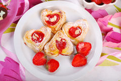 Heart shaped puff pastry cookies for valentines Stock Images