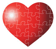 Heart shaped puzzle  graphic template illustration  on white background Royalty Free Stock Photo
