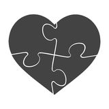 Heart shaped puzzle vector graphic template illustration isolated on white background Royalty Free Stock Photos