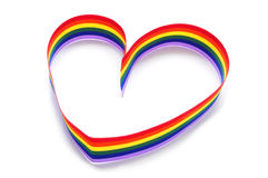 Heart-shaped rainbow ribbon Royalty Free Stock Photography