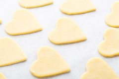 Heart shaped raw cookie dough Royalty Free Stock Photography