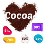 Heart Shaped Realistic Cocoa Powder with Labels Stock Photo