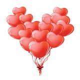 Heart shaped red balloons. Stock Image