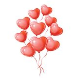 Heart shaped red balloons. Stock Photos