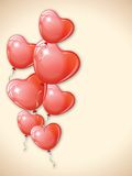 Heart shaped red balloons. Royalty Free Stock Photo