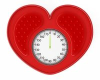 Heart shaped red bathroom scale. 3D illustration.  Stock Photography