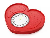 Heart shaped red bathroom scale. 3D illustration.  Royalty Free Stock Image