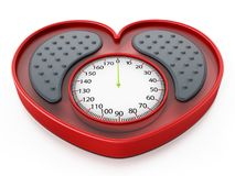 Heart shaped red bathroom scale. 3D illustration.  Stock Photos