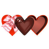 Heart-Shaped Red Box With Chocolate Stock Photography