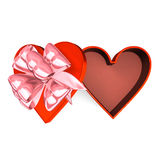 Heart-Shaped Red Box That Is Opened Top View Stock Photo