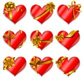 Heart-shaped red cards Royalty Free Stock Photography