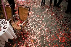 Heart shaped red confetti on the ground royalty free stock photography