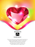 Heart-shaped red diamond vector background Stock Images