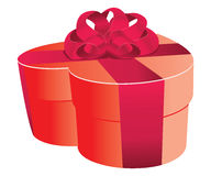 Heart shaped red gift box Royalty Free Stock Images