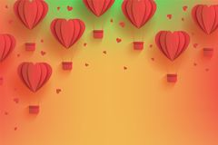 Heart shaped red hot air balloons in trendy paper art style on gradient background. Royalty Free Stock Image