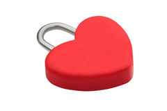 Heart-shaped red lock. Heart-shaped red lock isolated on white Stock Photography